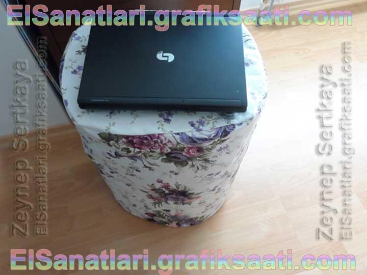 Kullanılmayan Masa Örtüsü ve Kirli Kutusundan Laptop Masasına