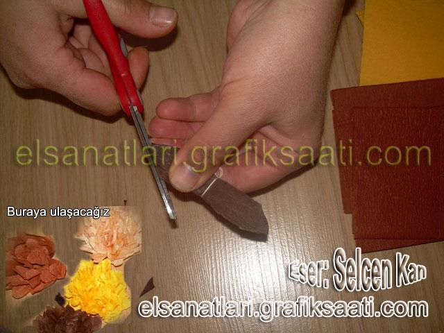 Ayşe Selcen Atılgan Kan el sanatları Elişi krepon çiçeklerin yapılışı