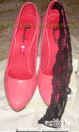 Ayşe Selcen Atılgan Kan el sanatları dantelli bayan ayakkabısı